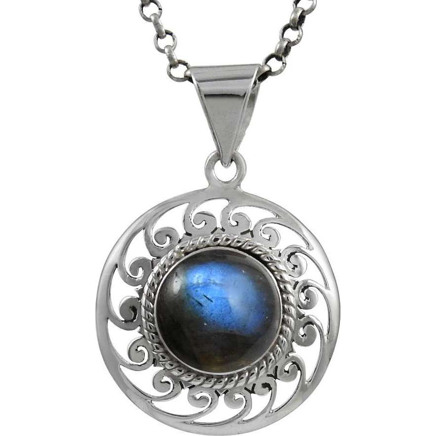 Enjoyable Blue Labradorite Gemstone Silver Jewelry Pendant