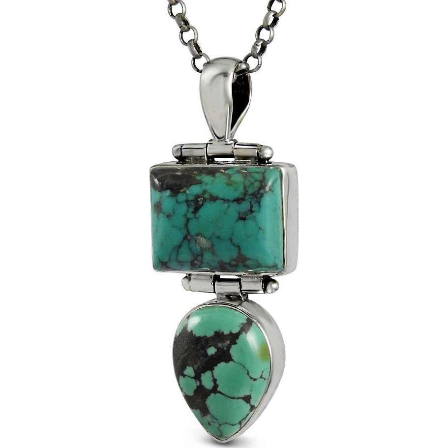 Draditions Turquoise Gemstone Silver Pendant Jewelry