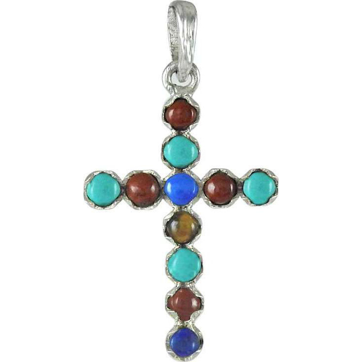 Bold Vintage Energetic Gemstone Sterling Silver Cross Pendant Jewelry