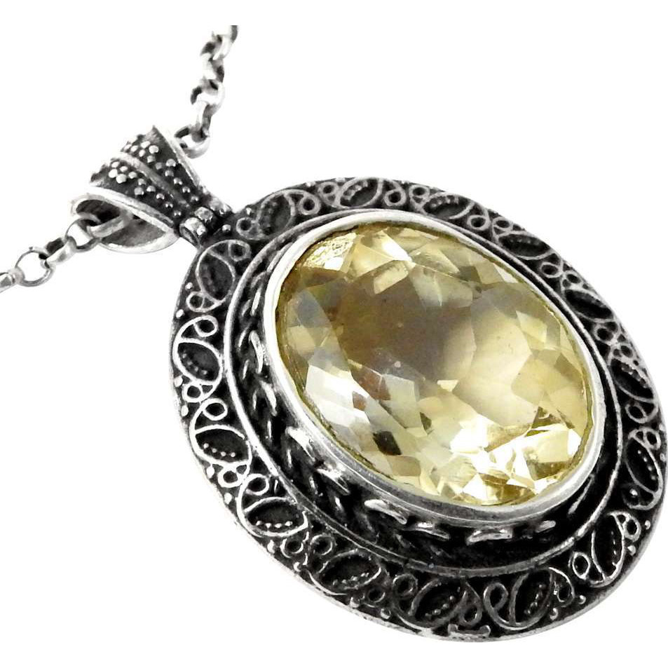 Gorgeous!! Citrine 925 Sterling Silver Pendant