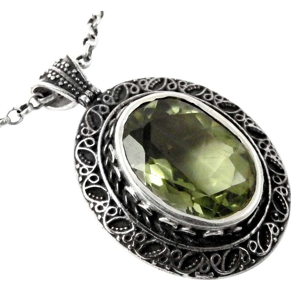Royal!! Green Amethyst 925 Sterling Silver Pendant