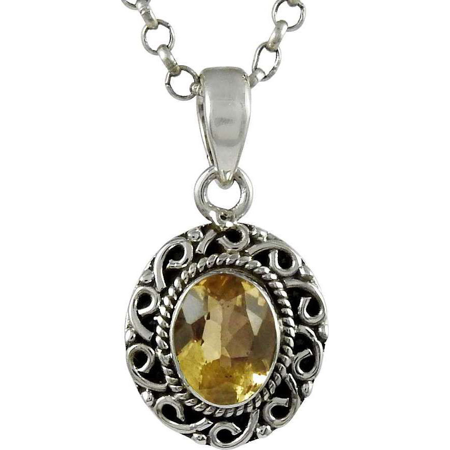 Big Weaving Light! 925 Sterling Silver Citrine Pendant