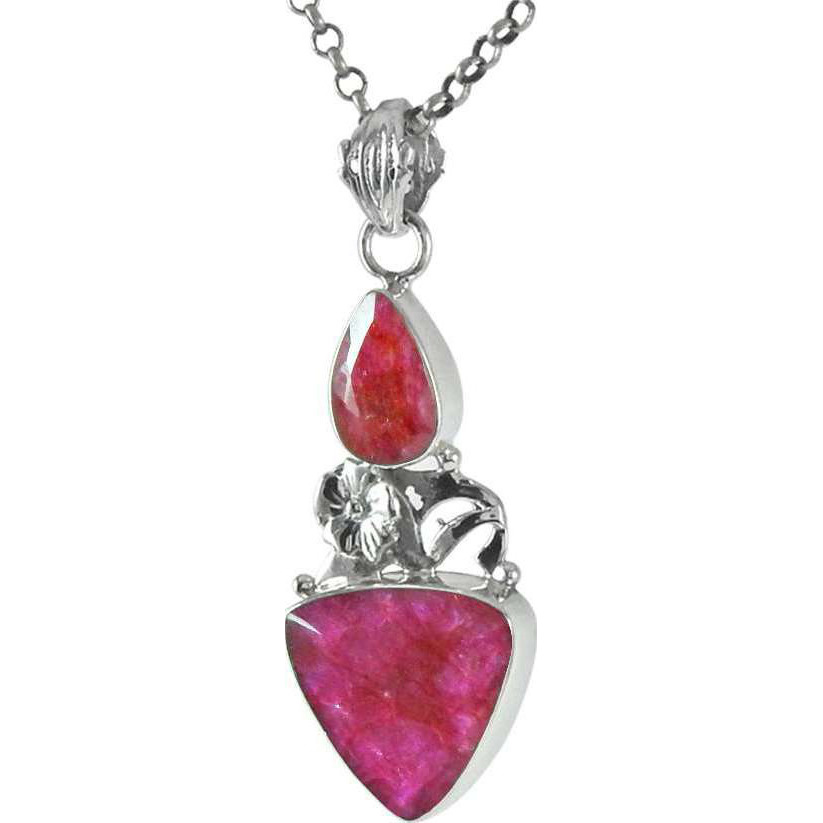 Indian Fashion Ruby Gemstone Sterling Silver Pendant Jewelry