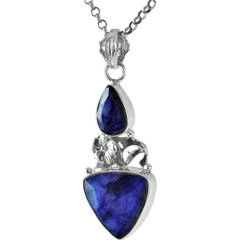 Tempting Blue Sapphire Gemstone Sterling Silver Pendant Jewelry