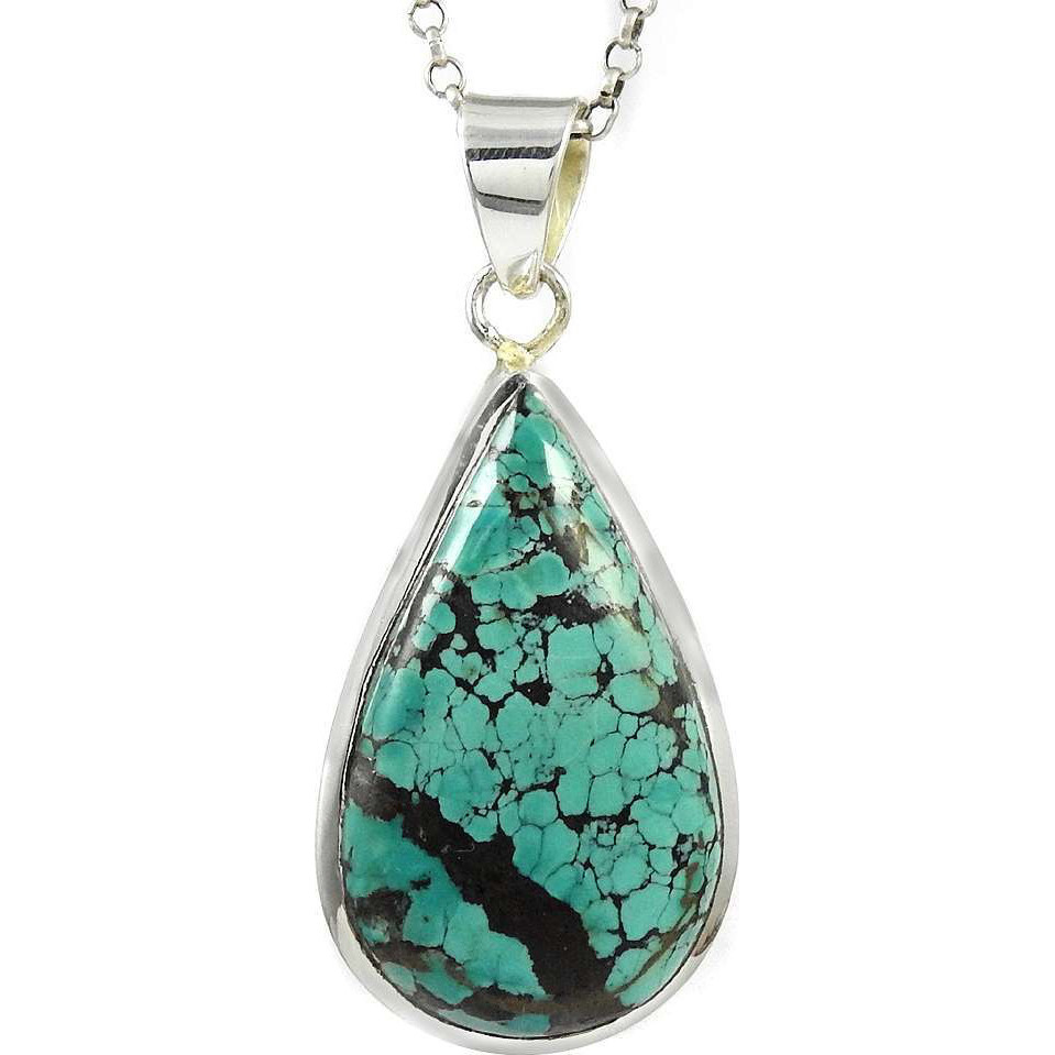 Stunning Natural Rich!! 925 Silver Turquoise Pendant