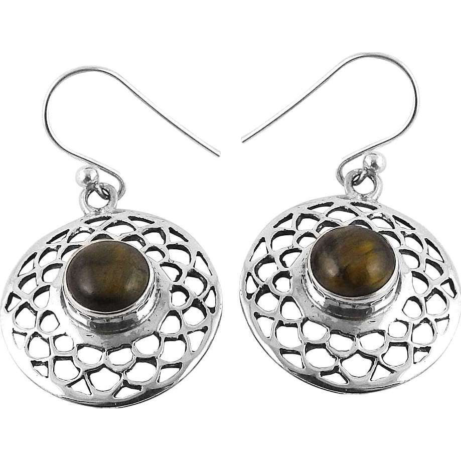Afternoon Sun !! Tiger Eye 925 Sterling Silver Earrings