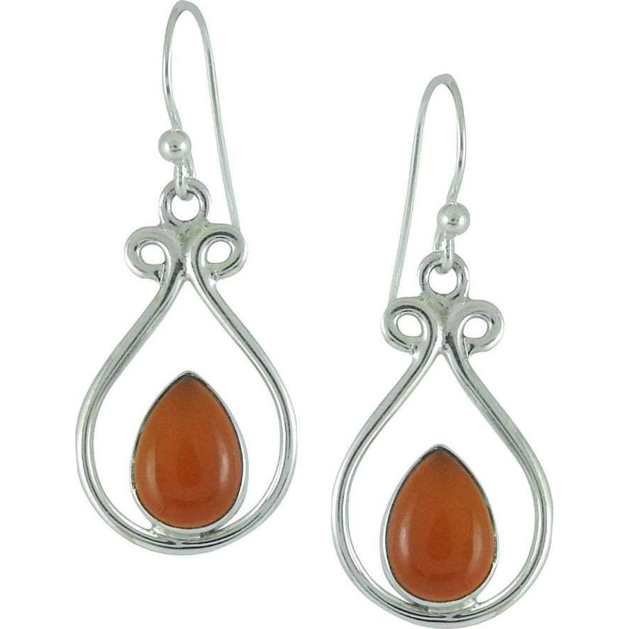 Stunning Natural Rich!! 925 Silver Carnelian Earrings