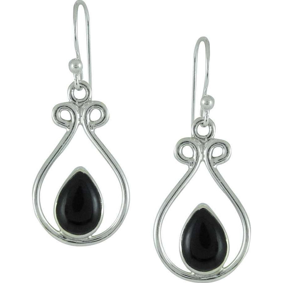New Fashion Design!! 925 Silver Black Onyx Earrings