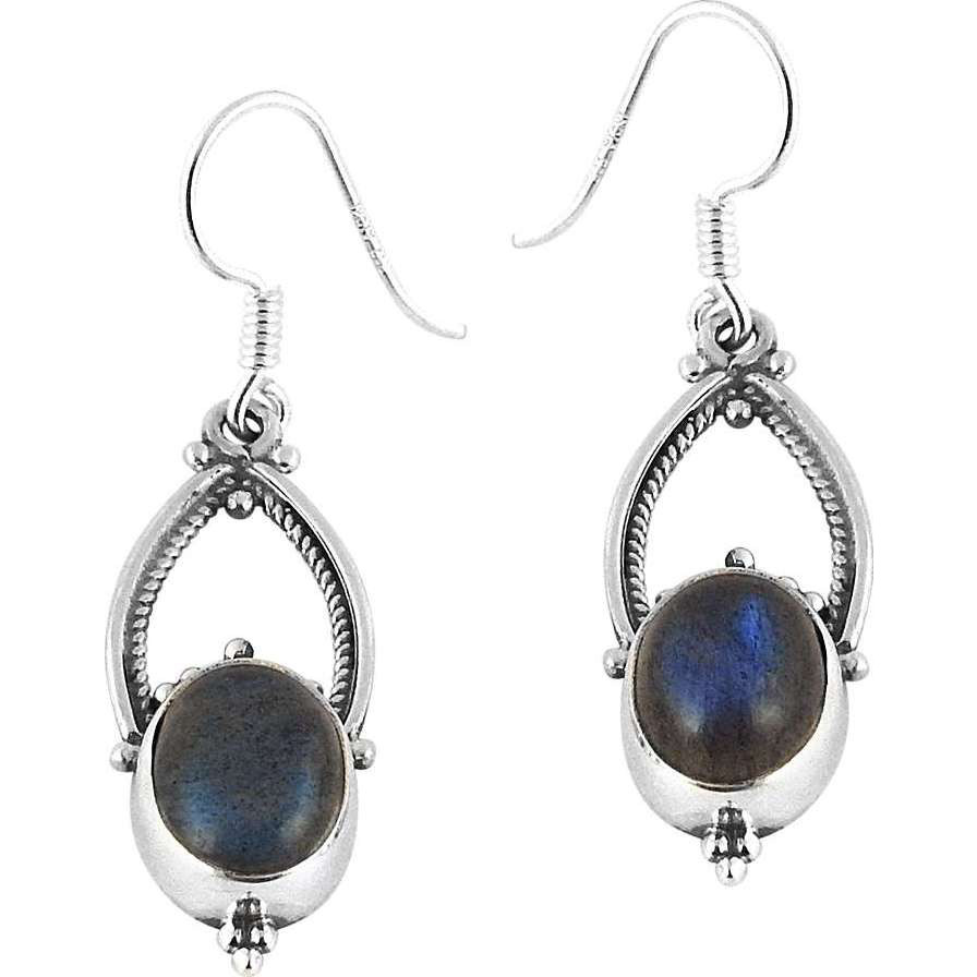 New Faceted!! 925 Silver Labradorite Earrings