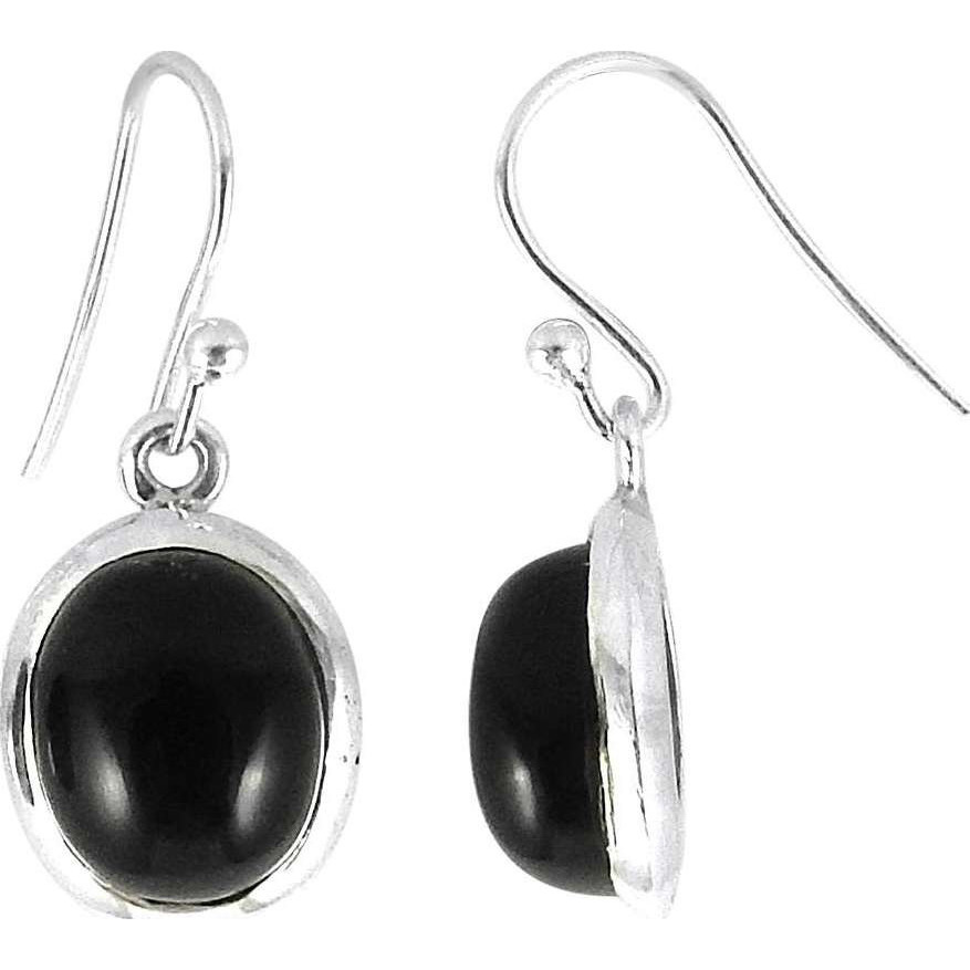 Antique Handmade ! Black Onyx 925 Sterling Silver Earrings