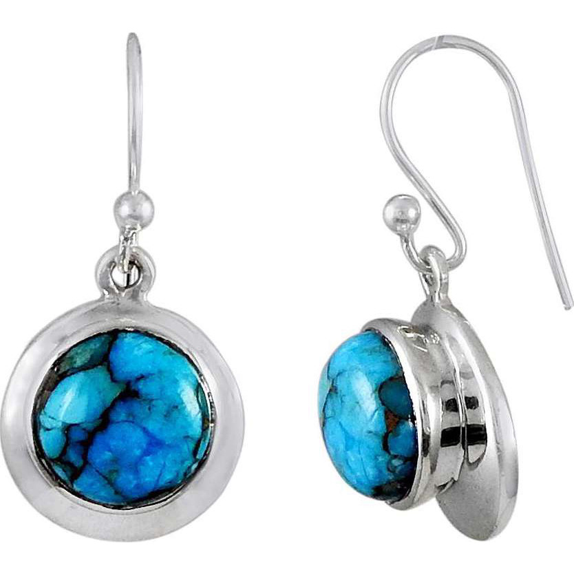 Big True Emotion ! 925 Sterling Silver Blue Copper Turquoise Earrings