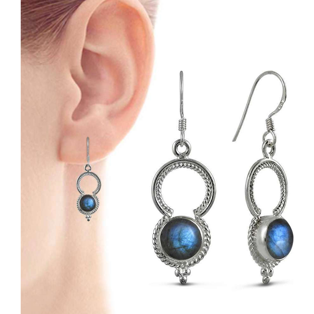 Summer Stock! 925 Sterling Silver Blue Labradorite Earrings