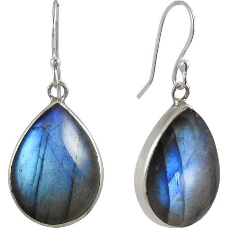 Vintage Fashion ! Labradorite Gemstone Silver Jewelry Earrings
