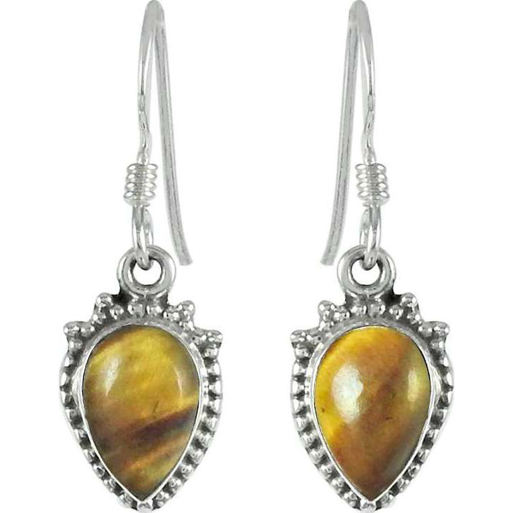 Wholesale Tiger Eye Gemstone Sterling Silver Earrings Jewelry