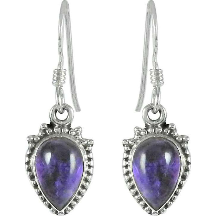 Traditional Amethyst Gemstone Sterling Silver Earrings Jewelry