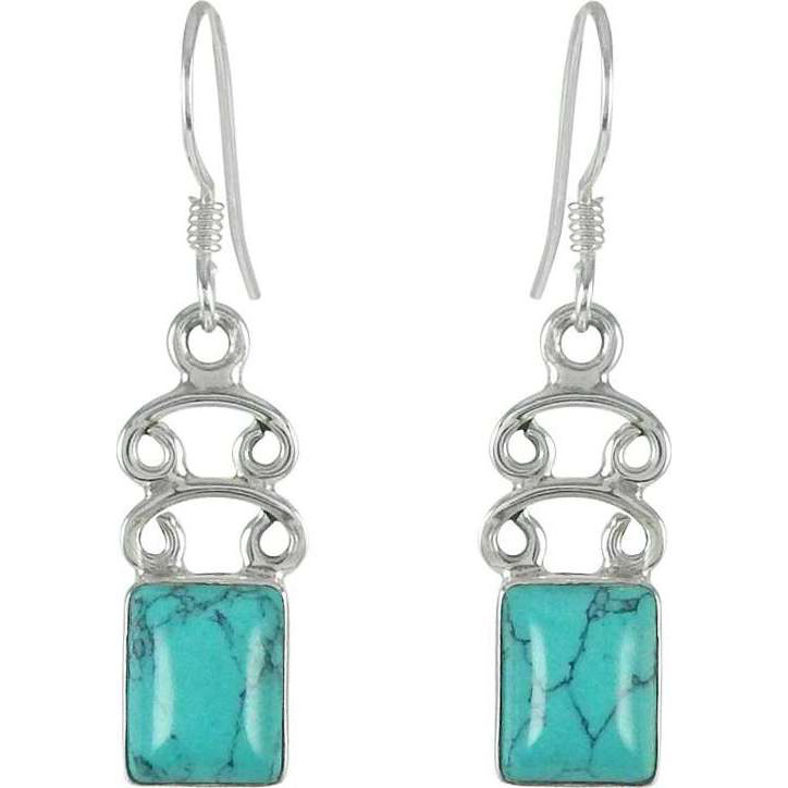 New Style Turquoise Gemstone Sterling Silver Earrings Jewelry