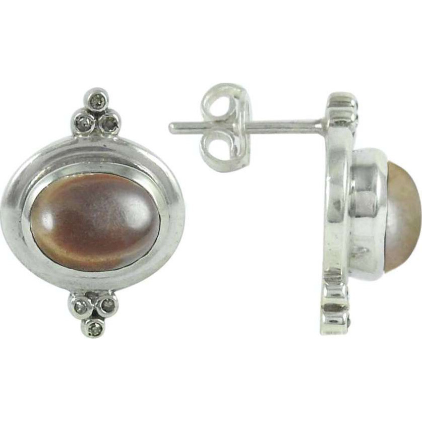 Awesome Smoky Quartz Gemstone Sterling Silver Stud Earrings Jewelry