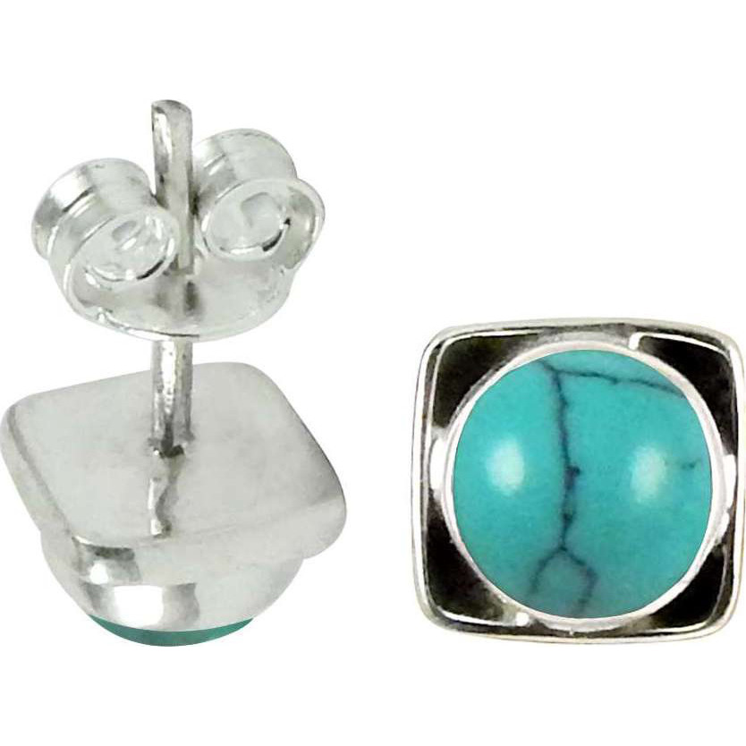 Large Stunning ! Turquoise Gemstone Sterling Silver Stud Earrings Jewelry