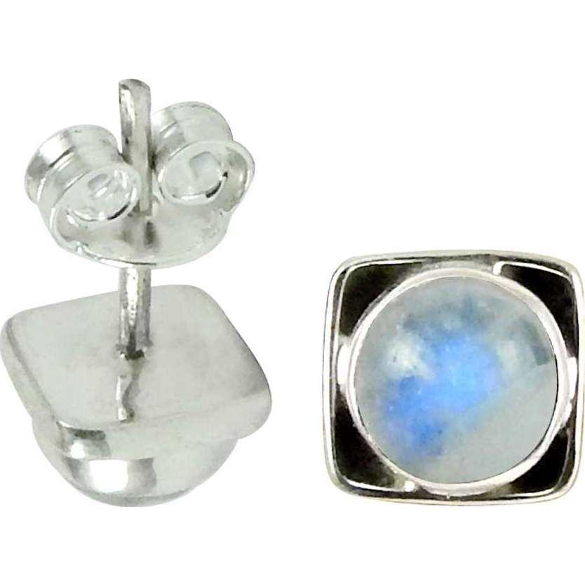 Exhilarant ! Rainbow Moonstone Gemstone Sterling Silver Stud Earrings Jewelry