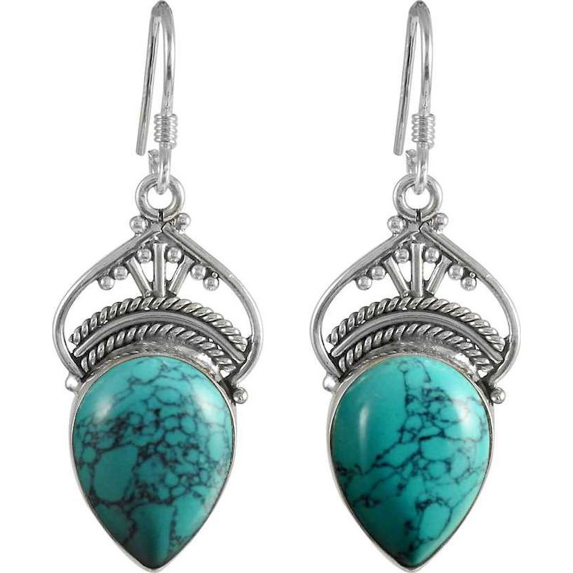 Natural Beauty Turquoise Gemstone Silver Jewelry Earrings