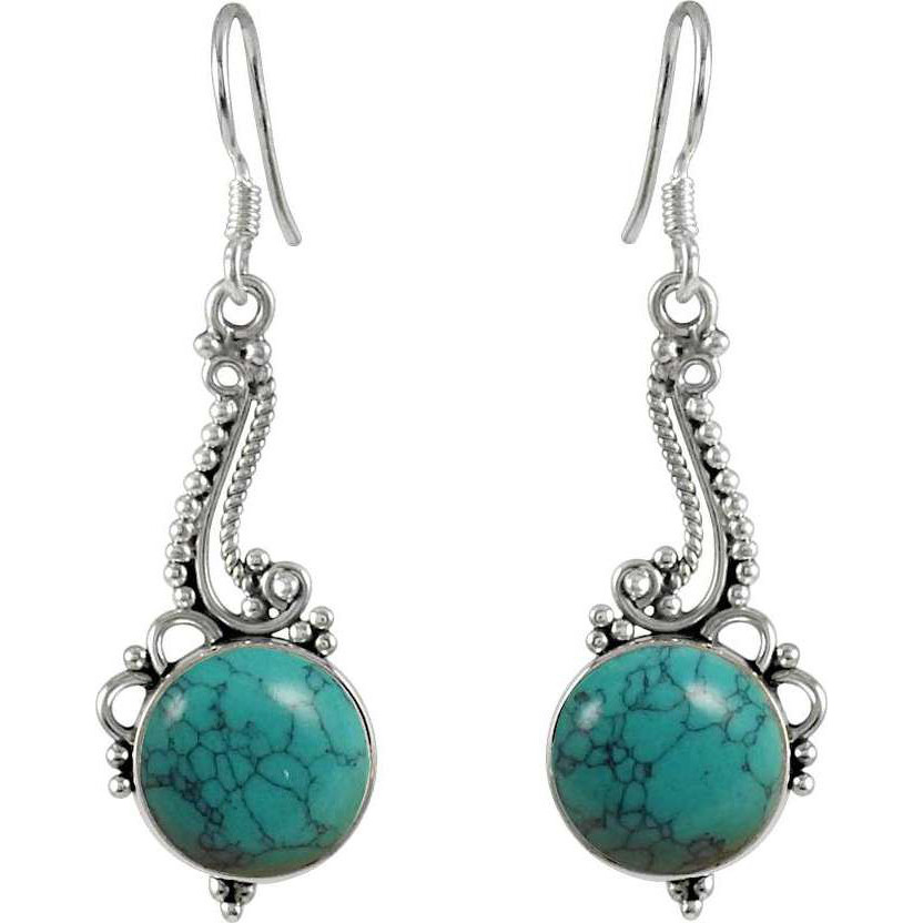 Chunky Turquoise Gemstone Silver Jewelry Earrings