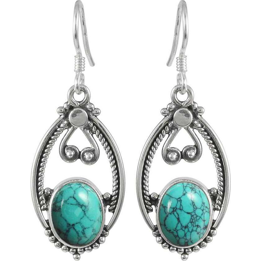 Possessing Turquoise Gemstone Silver Jewelry Earrings
