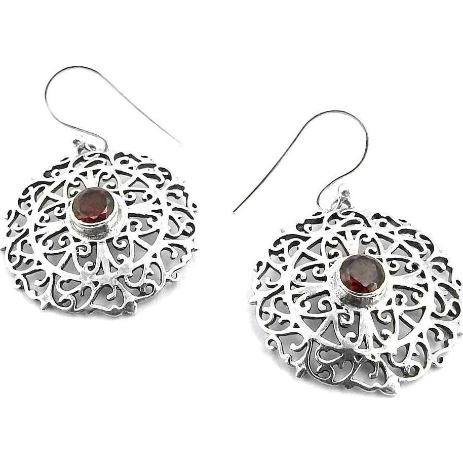 Royal! 925 Silver Garnet Gemstone Earrings