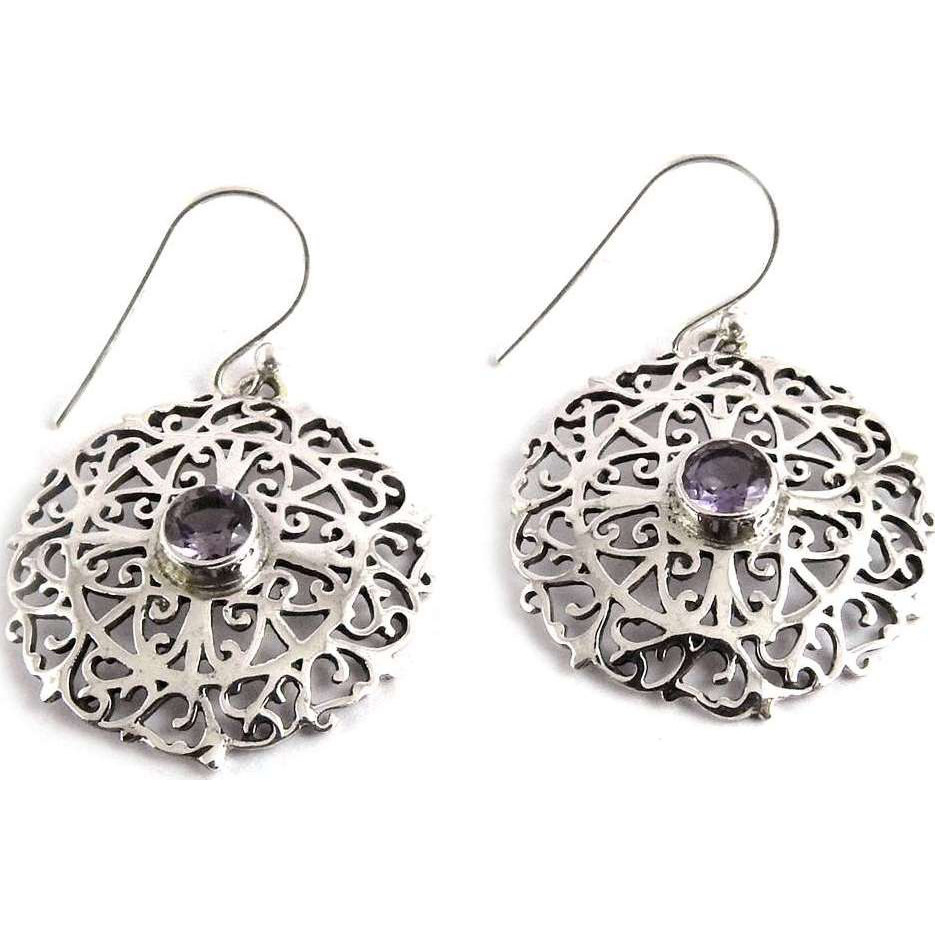 Stunning Natural Rich!! 925 Silver Amethyst Gemstone Earrings