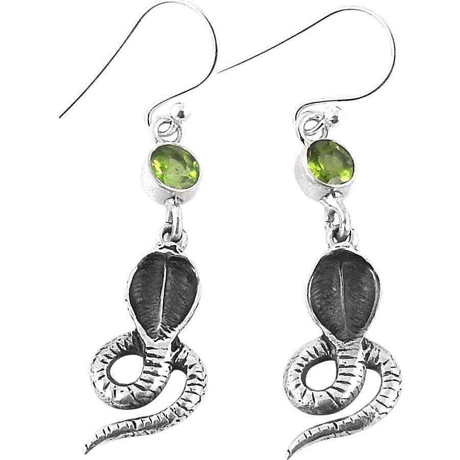 Precious Style!! 925 Silver Peridot Gemstone Earrings