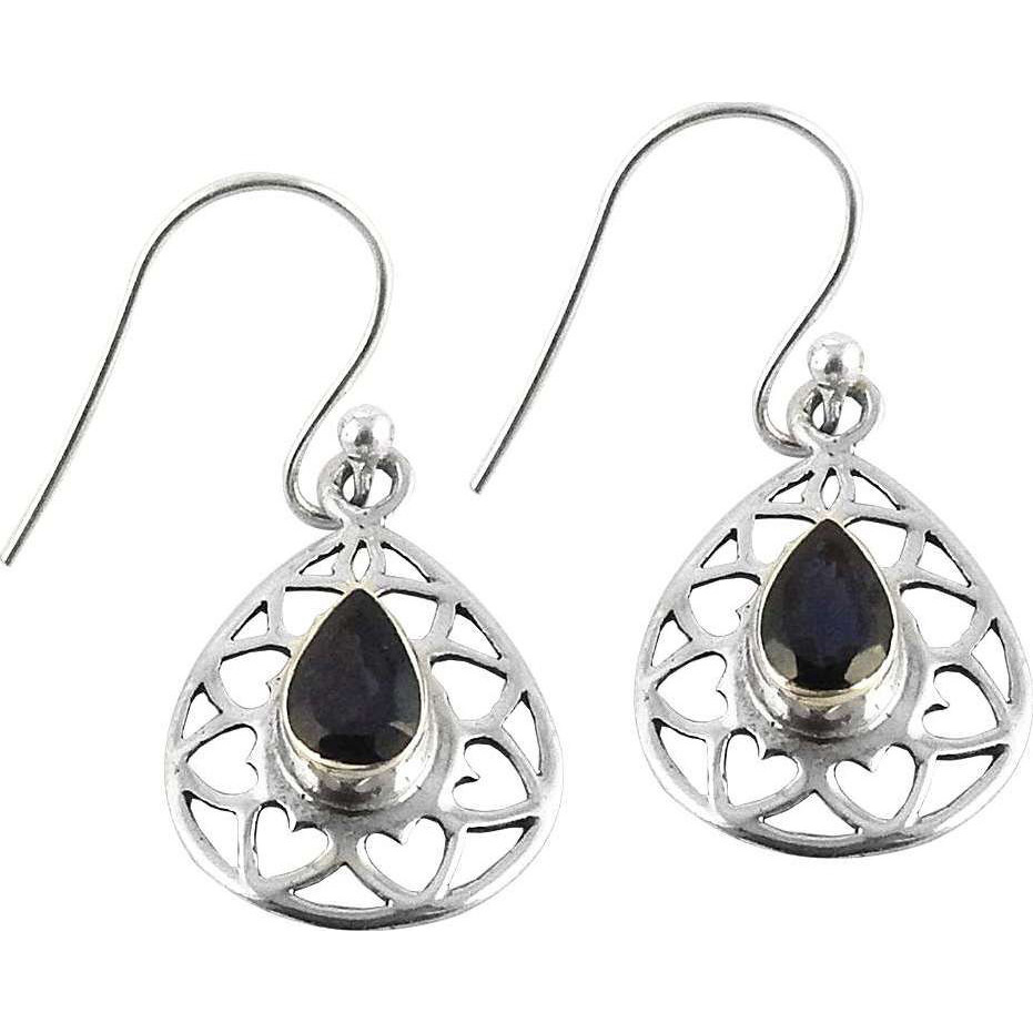 Big Fabulous!! 925 Silver Iolite Gemstone Earrings