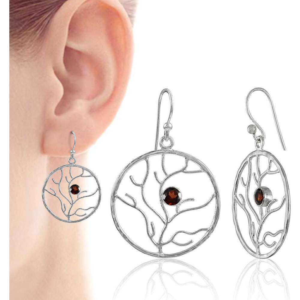Blue Passion ! Garnet 925 Sterling Silver Earrings