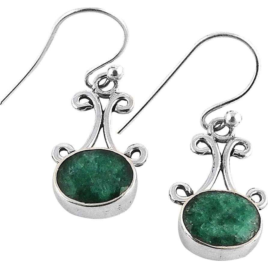 Big Inspire! 925 Silver Emerald Gemstone Earrings