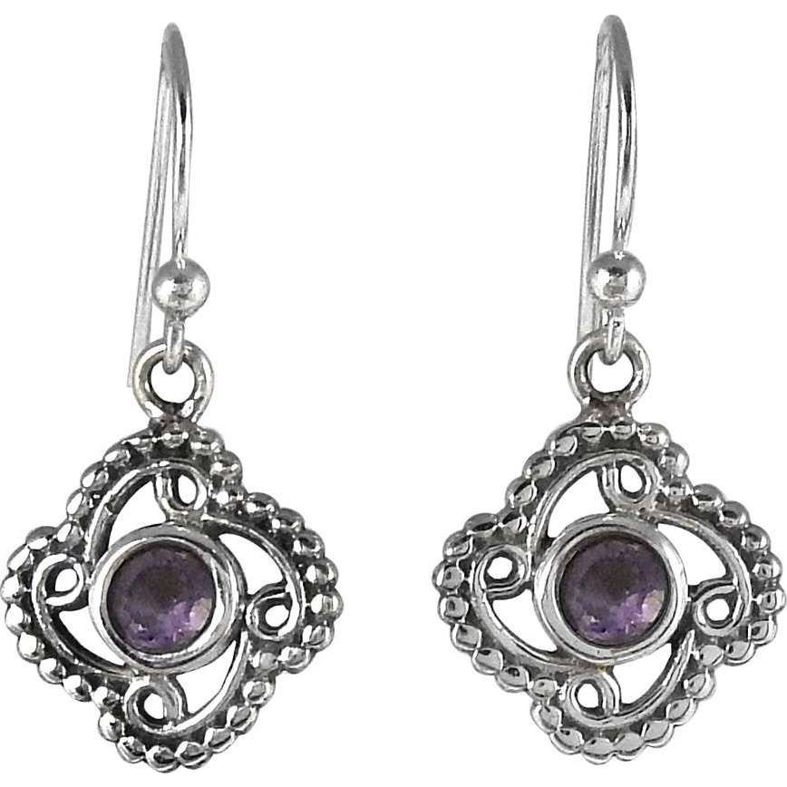 Stunning !! Amethyst 925 Sterling Silver Earrings