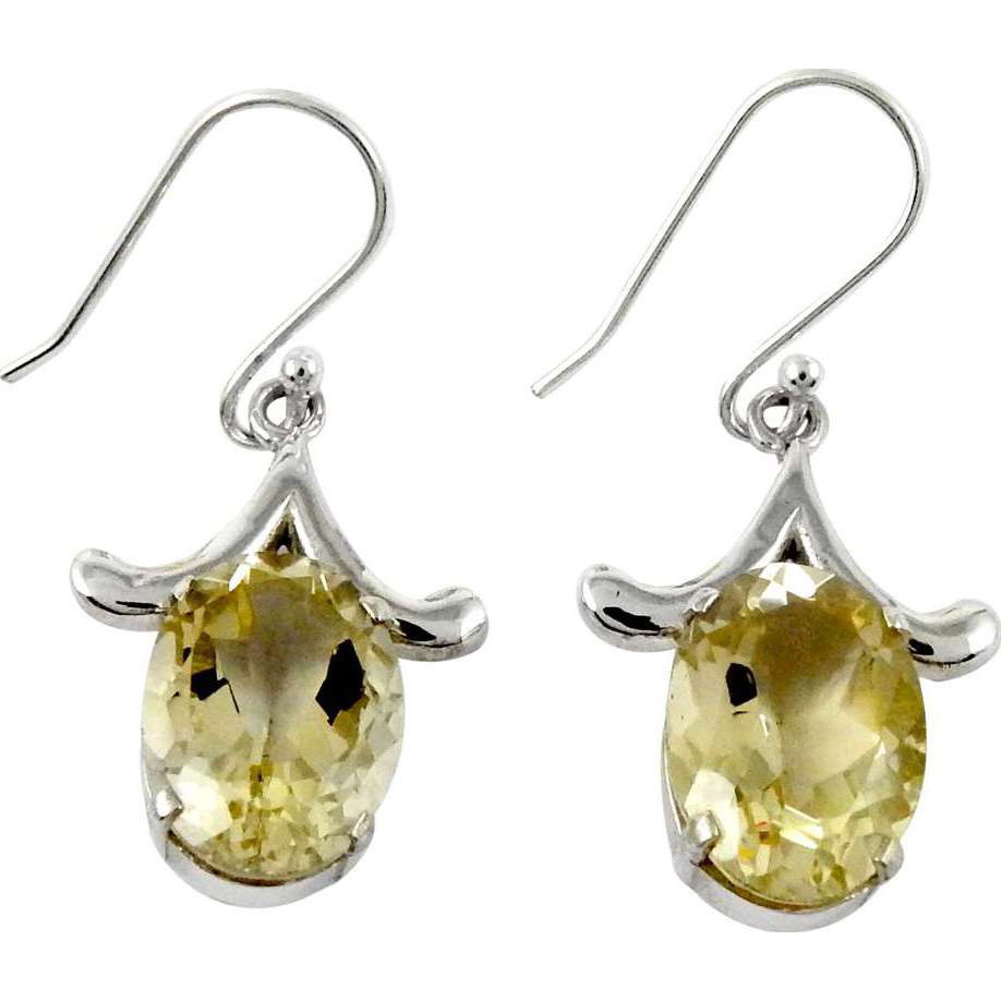 Lovely !! Citrine 925 Sterling Silver Earrings