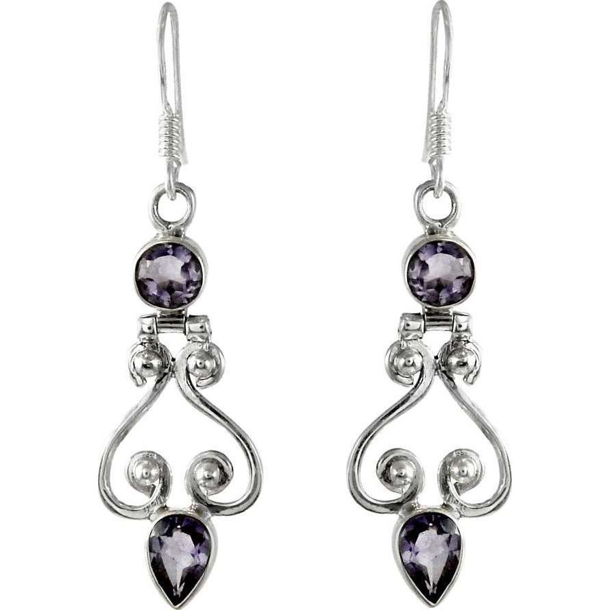 Clinquant!!  925 Sterling Silver Amethyst Earrings