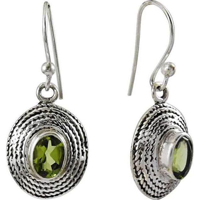 Melodious Peridot Gemstone Silver Earrings Jewelry