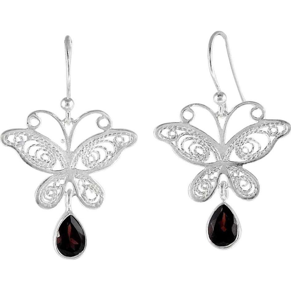 Big Special Moment!! Garnet 925 Sterling Silver Earrings