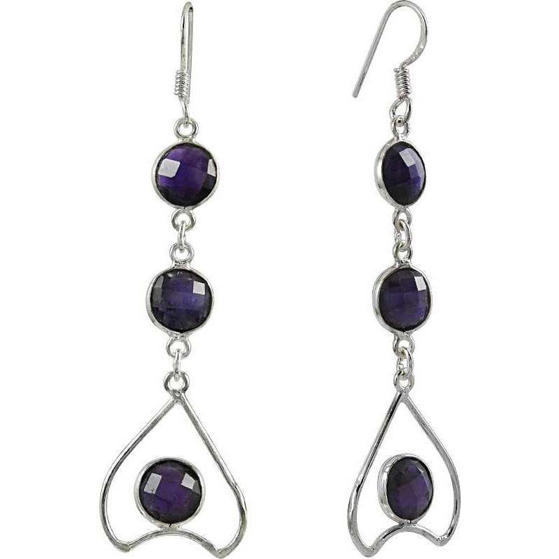 Wholesaler Amethyst Gemstone Silver Earrings Jewelry