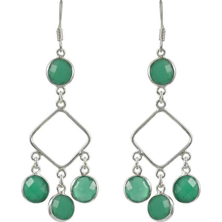 Party Wear Green Onyx Gemstone Silver Earrings Jewelry