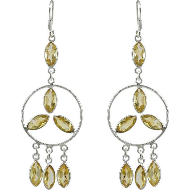 Absorbing Citrine Gemstone Silver Earrings Jewelry