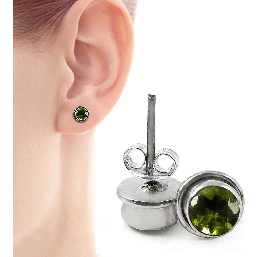 Great!! 925 Sterling Silver Peridot Studs
