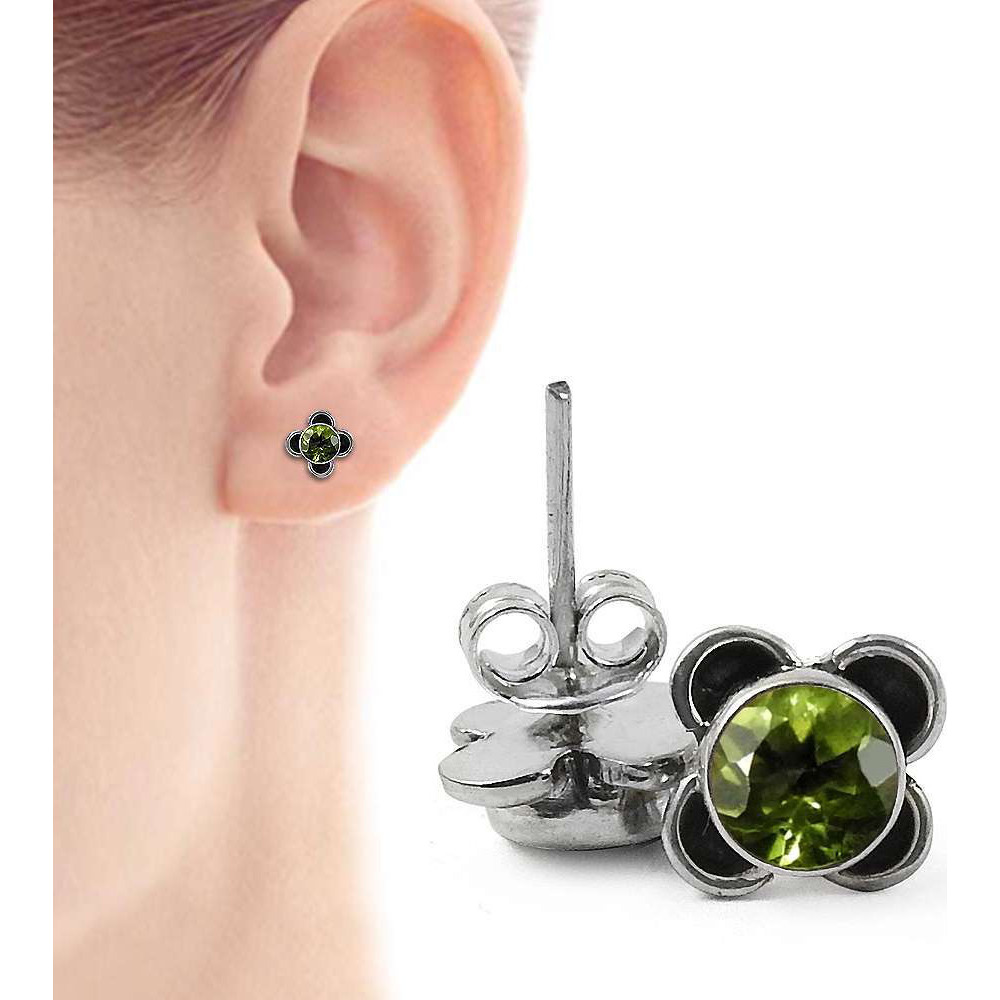 Personable!! 925 Sterling Silver Peridot Studs