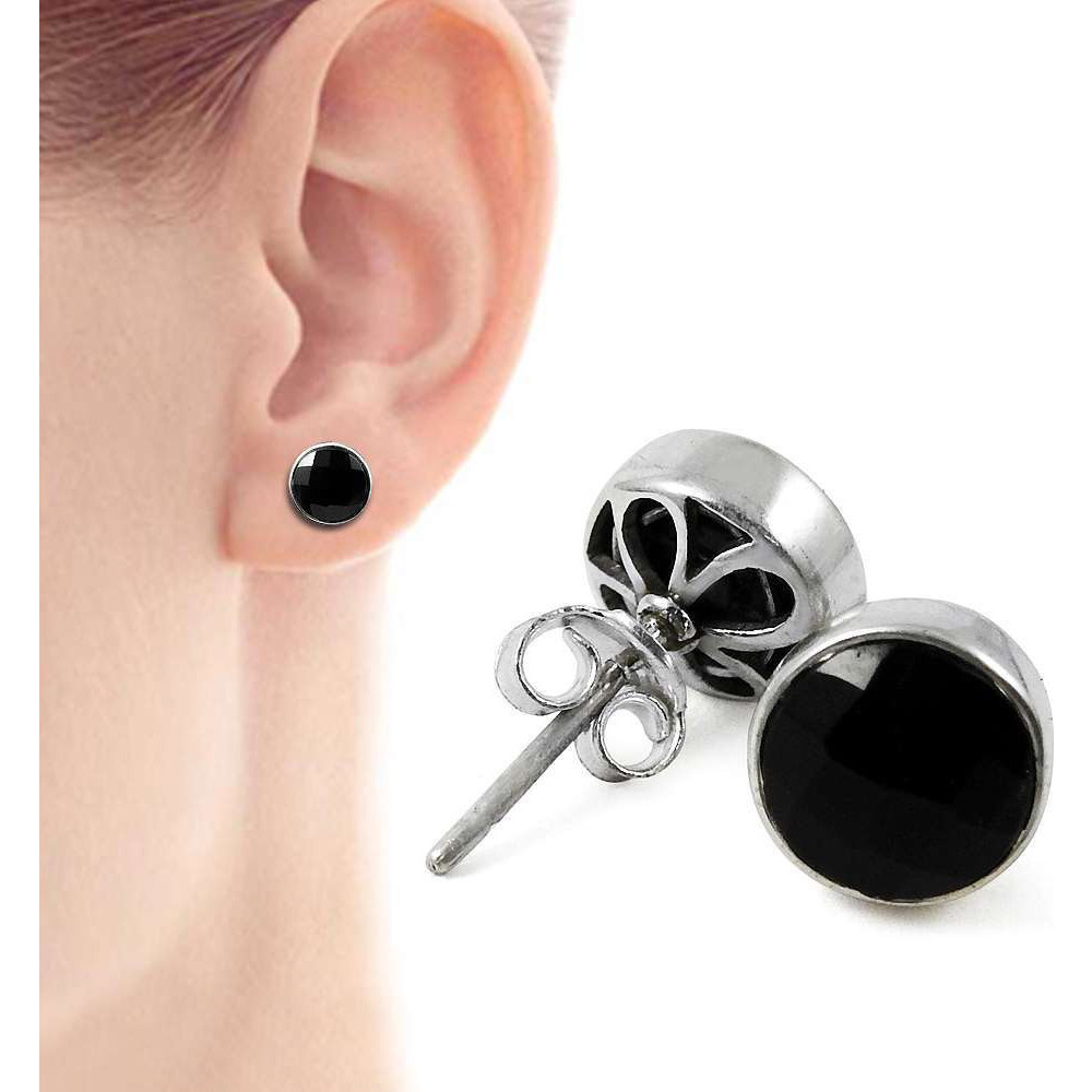 Seemly!! 925 Sterling Silver Black Onyx Studs