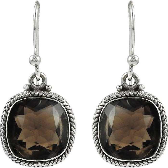 Handy!! 925 Sterling Silver Smoky Quartz Earrings