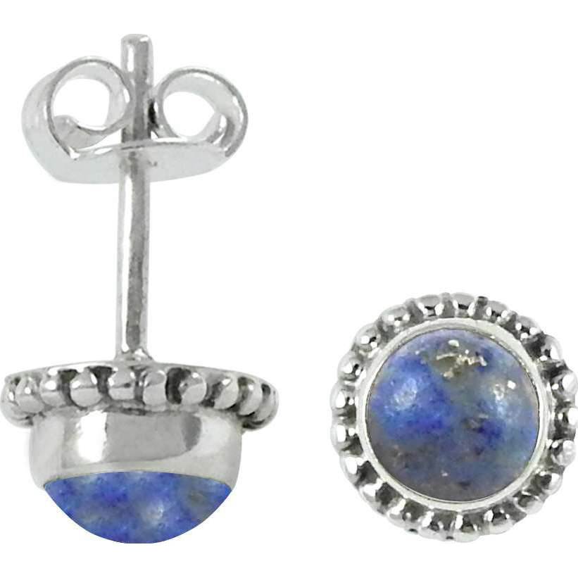 Daily Wear Lapis Gemstone Sterling Silver Stud Earrings Jewelry