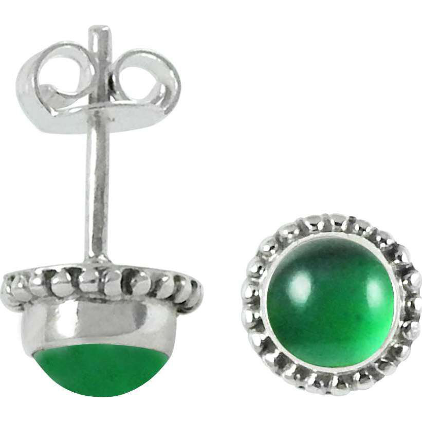 Hot Selling Green Onyx Gemstone Sterling Silver Stud Earrings Jewelry