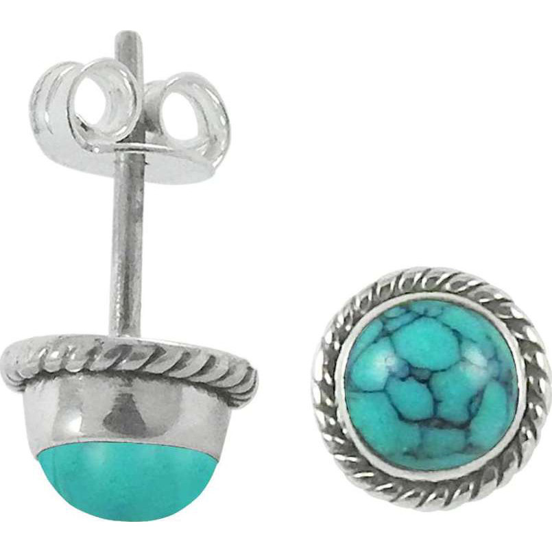 Very Light !! Turquoise Gemstone Sterling Silver Stud Earrings Jewelry