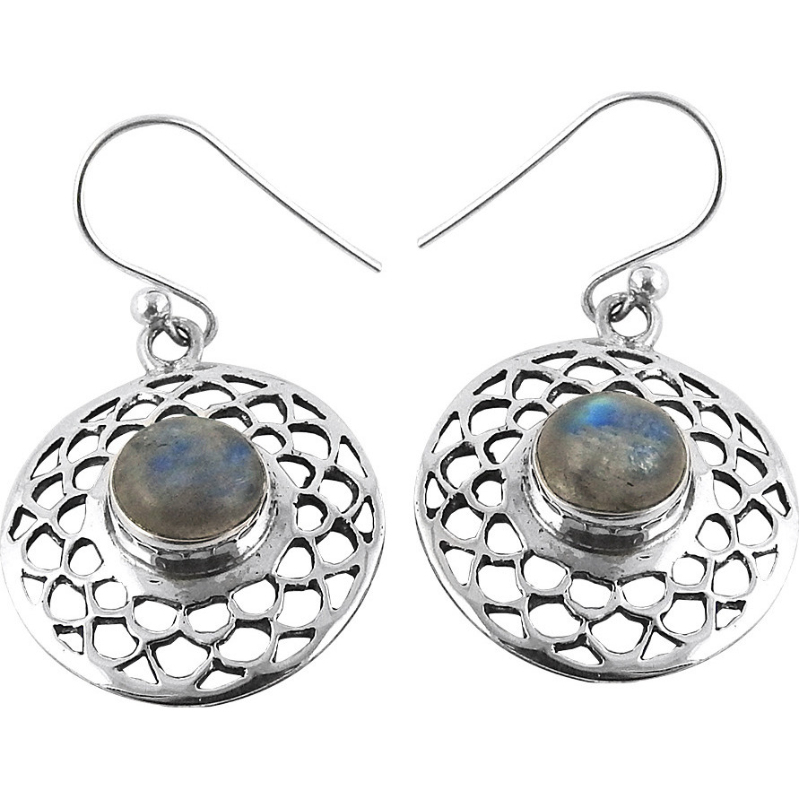 Briliance !! Rainbow Moon Stone 925 Sterling Silver Earrings
