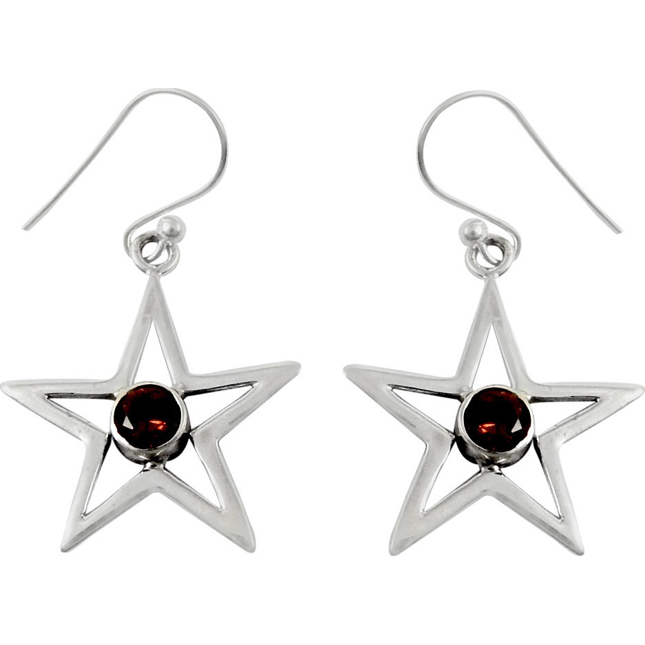 Love At First Sight Light!! Garnet 925 Sterling Silver Earrings