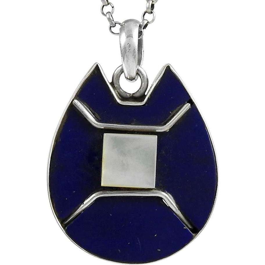 Big Secret Design!! 925 Sterling Silver Mother of Pearl, Lapis Pendant